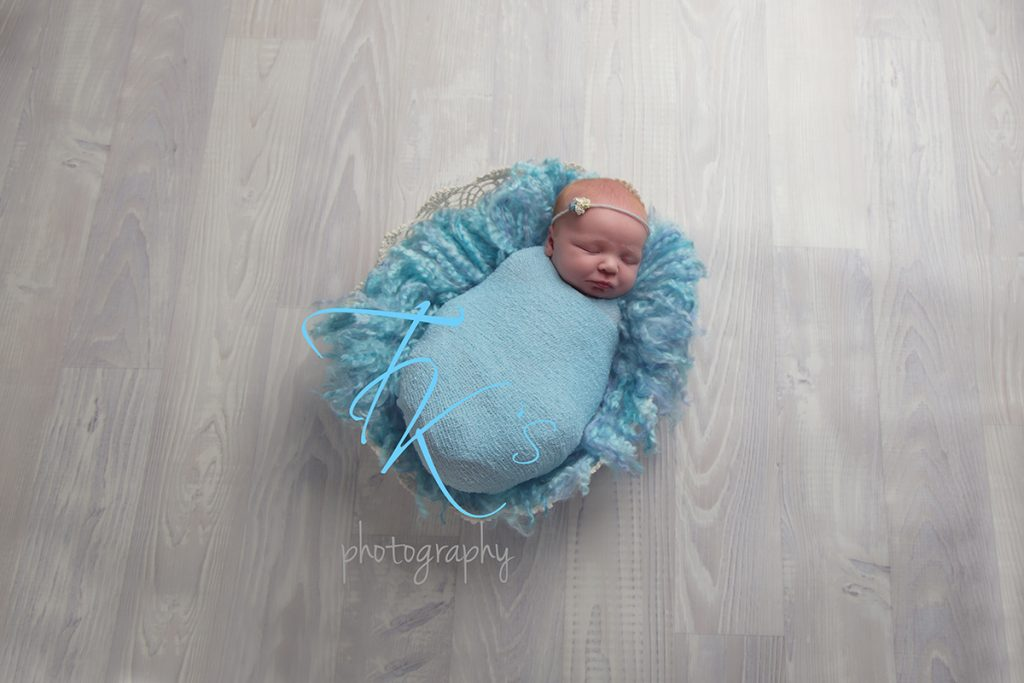 TK's Photography Launceston baby girl in blue with basket