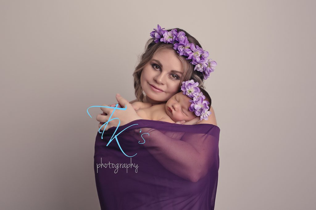 TK's Photography Launceston mum newborn baby girl purple cuddles