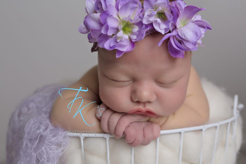 TK's Photography newborn baby girl purple floral crown basket