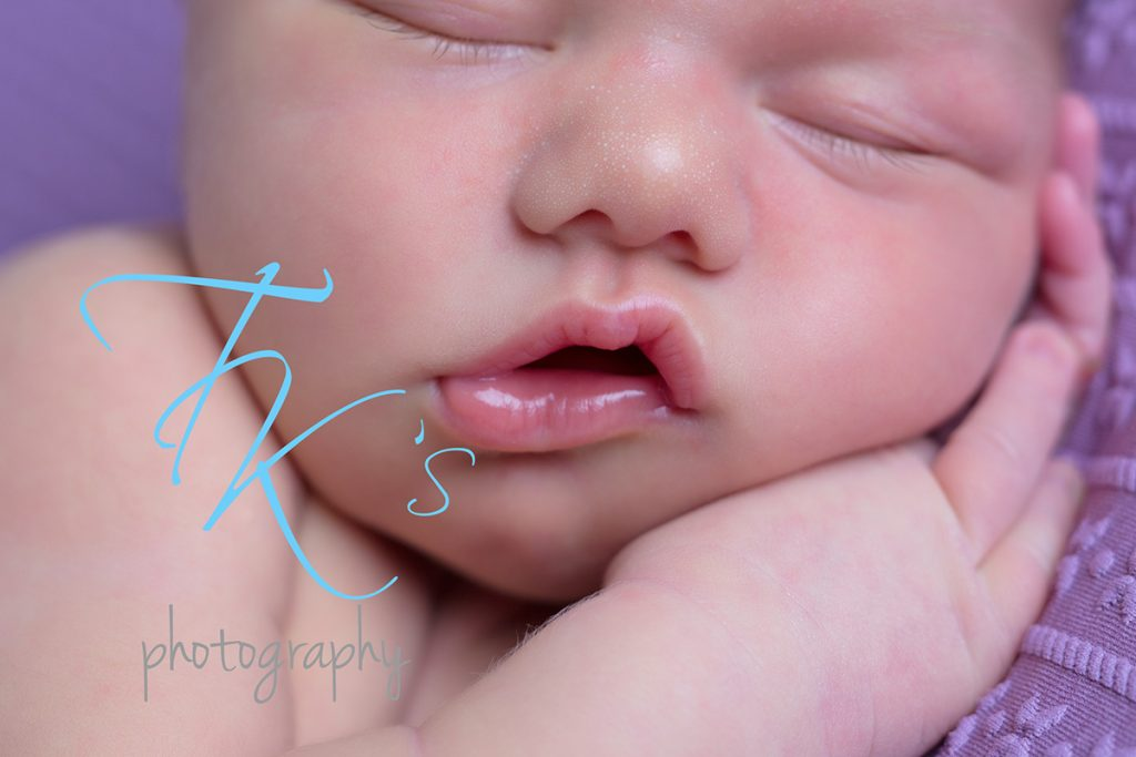 TK's Photography newborn baby girl close up squishy lips