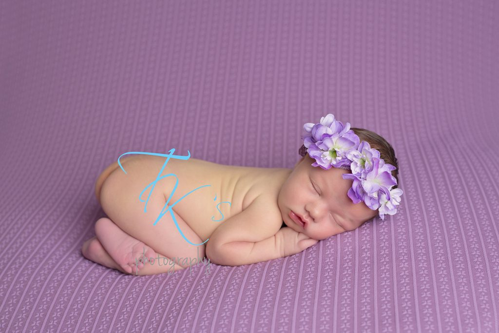 TK's Photography newborn baby girl purple floral crown
