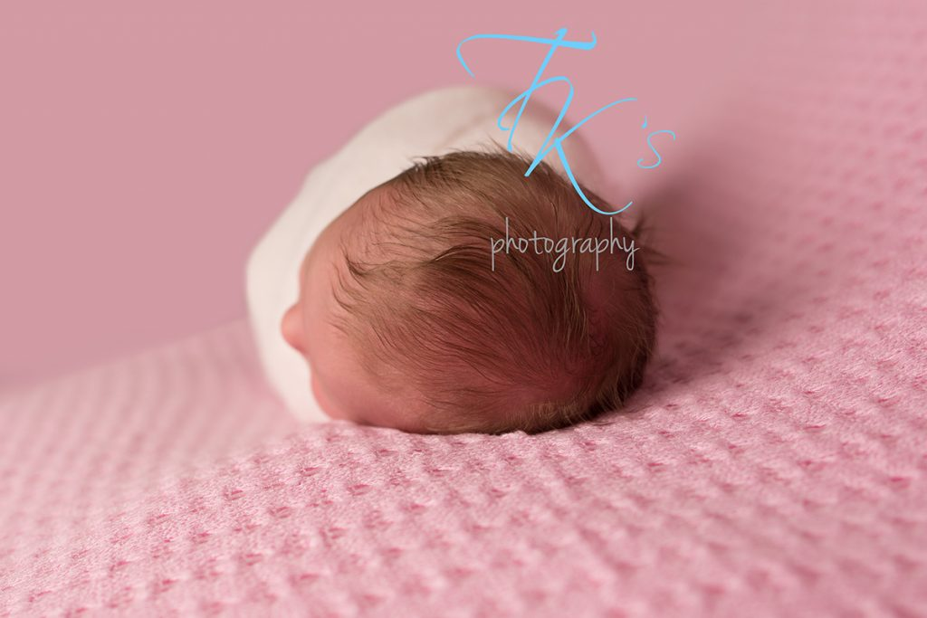 newborn baby girl top of head showing hair Launceston newborn photographer