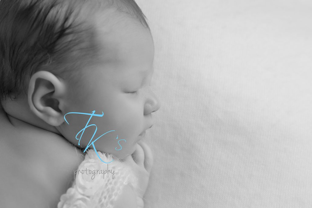 newborn baby girl black and white face profile Launceston newborn photographer