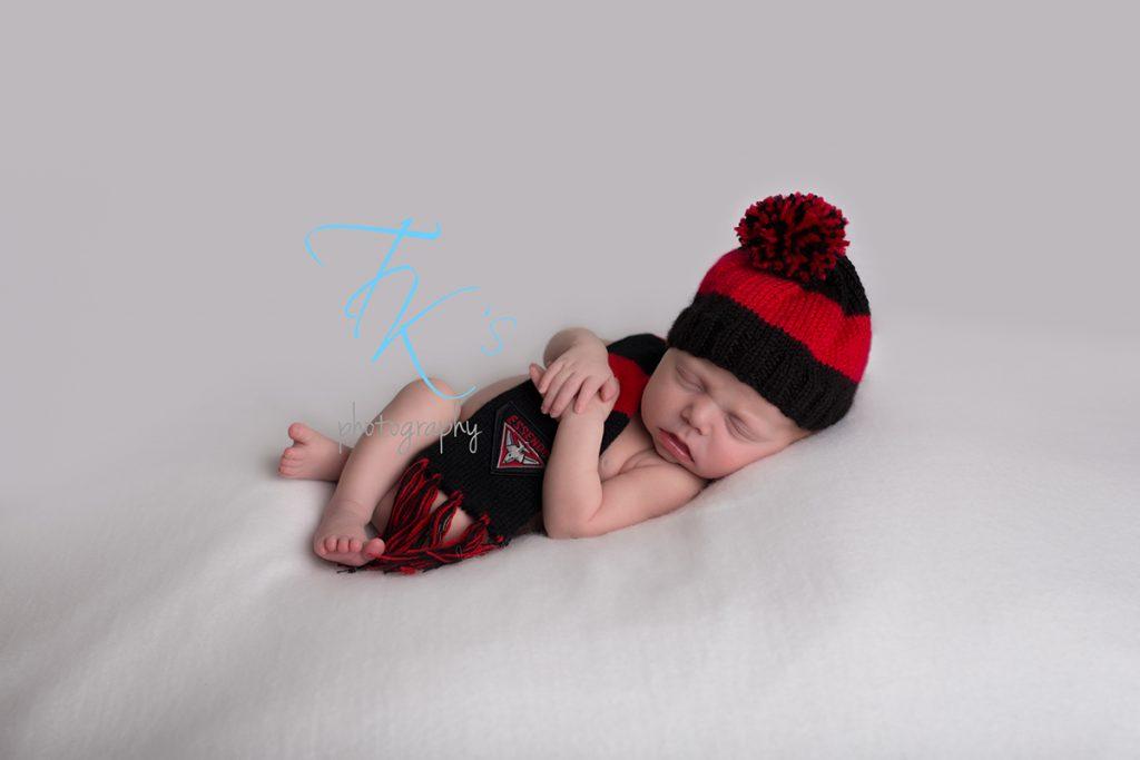 newborn baby girl Essendon Bombers beanie and scarf